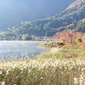 写真: 朝の河口湖畔