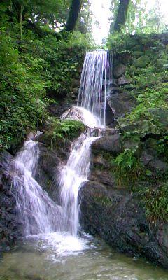 ダムに沈む予定の山祇神社から落ちる滝1