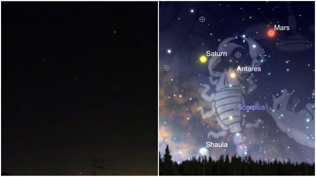 夜空に輝く「スーパーマーズ」(火星)と土星とアンタレスの三角形 - 5