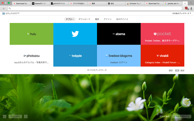 Ynadex Browser 16.6.0.8125 No - 30:スタートページ(ブックマークバー有り)