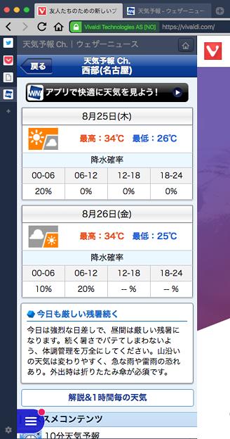Vivaldi 1.3:WEBパネルに「ウェザーニュース」- 2(名古屋の天気予報)