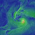 写真: 台風10号が近づいた日本列島の風向きと風速(2016年8月29日)