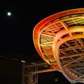 紅葉色に染まったオアシス21のイルミネーションと満月 - 4