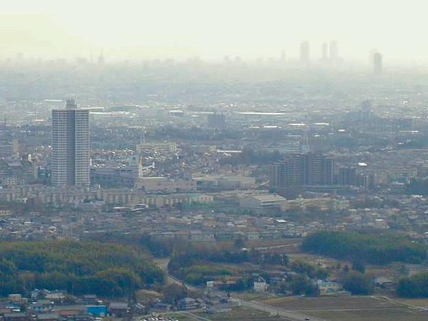 白山神社から見たスカイステージ33と名駅ビル群(2009年3月撮影) - 2