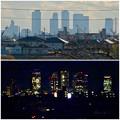 写真: 大池緑地公園から見た名駅ビル群(昼と夜)- 2