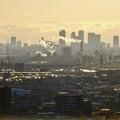 アピタ高蔵寺店屋上から見た景色 - 25:王子製紙の煙突越しに見えた名駅ビル群