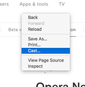 Opera Neon:Chromeキャスト機能 - 1(右クリックメニュー)
