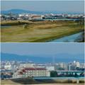 名古屋高速から見た瀬戸デジタルタワーと、金城学院大学関連しているアニー・ランドルフ記念講堂 - 5