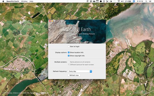一定間隔ごとに衛星写真から作られた壁紙を切り替えるMac用アプリ「Beautiful Earth」- 5