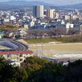 写真: 犬山城から見下ろした、名証総合グラウンド横の整備中の道路 - 1
