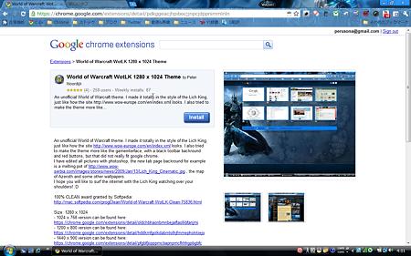 Chromeテーマ:World of Warcraft WotLK 1280 x 1024 Theme