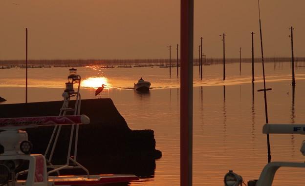 漁港の夕暮