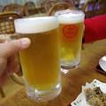 写真: 無事到着の乾杯!