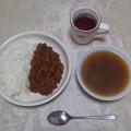 写真: ドライカレーとオニオンスープ、いただきま~すヽ(´∀`)