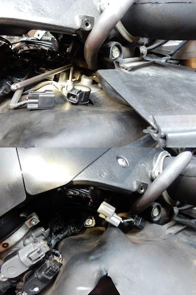 写真: 5.右エアサクションバルブカバーの手前ボルト外してカムシャフトポジションセンサーへのカプラー(灰)を外す