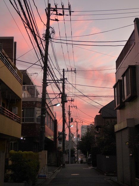 10月の夕焼け雲
