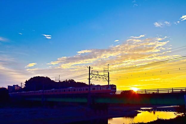 朝陽を受けて