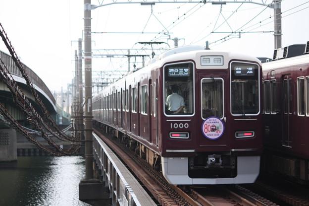 Photos: 阪急1000系1000F 80周年記念ヘッドマーク