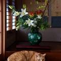 お正月の花と福嗣