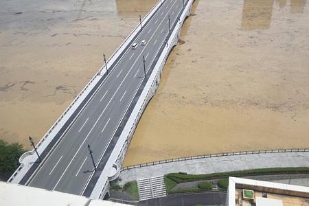 水害で水が茶色い信濃川と萬代橋(1)