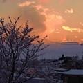 写真: 雪の夕暮れ