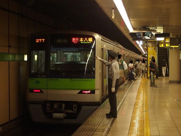 都営新宿線大島駅4番線 都営10-400F急行本八幡行き表示確認