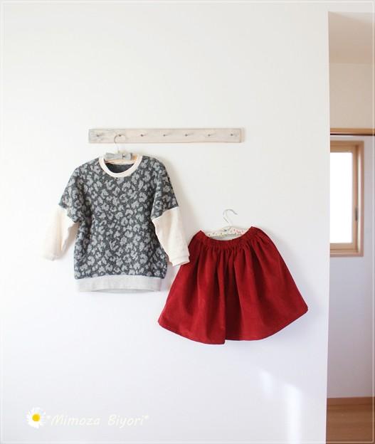 toco プルオーバーとパタレのギャザースカート