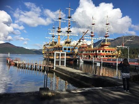 芦ノ湖海賊船に到着!