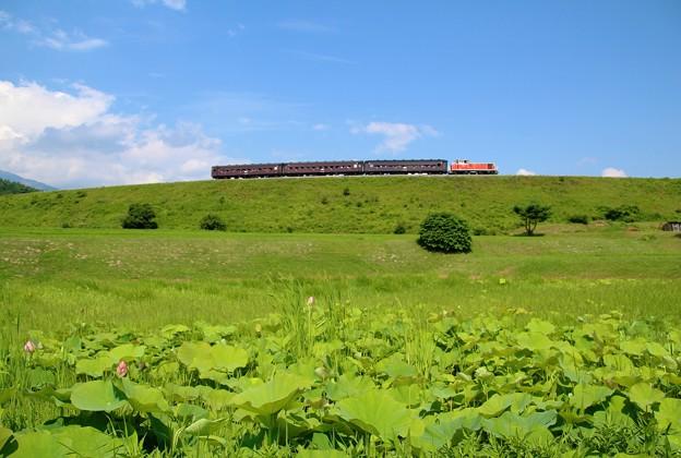 高原を行く旧型客車