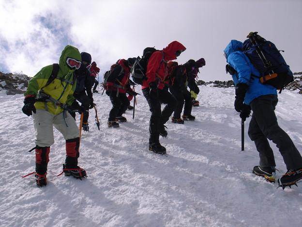 日本の山 雪山講習会 那須茶臼岳 STEP1・1班 講習風景1