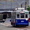 広島電鉄 被爆電車 650形 653号 広島市南区猿猴橋町2016年8月9日