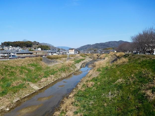 竜田川(左奥が三室山)