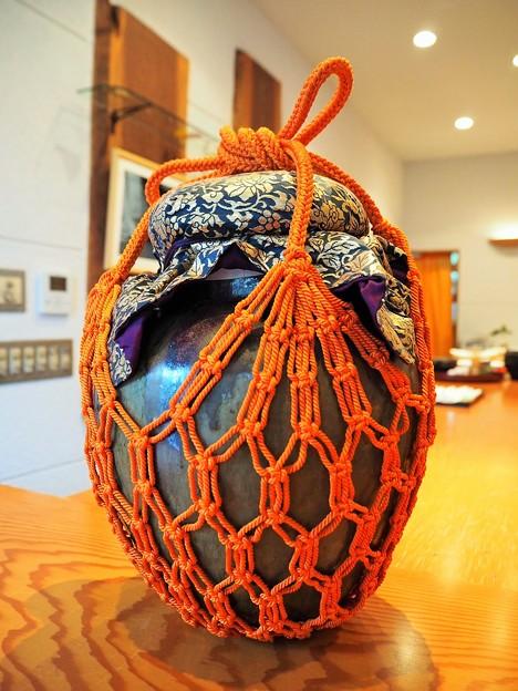 葩会茶会*口切や朱の色冴える壺飾 Tsubo Kazari