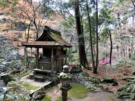 石山寺29 龍蔵権現社5 灯籠が龍珠、社が頭、下方の道が胴体