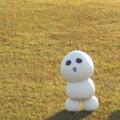写真: たそがれるスノーギースマン