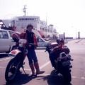 写真: 1990年3月30日XL250日本一周青森市東日本フェリー