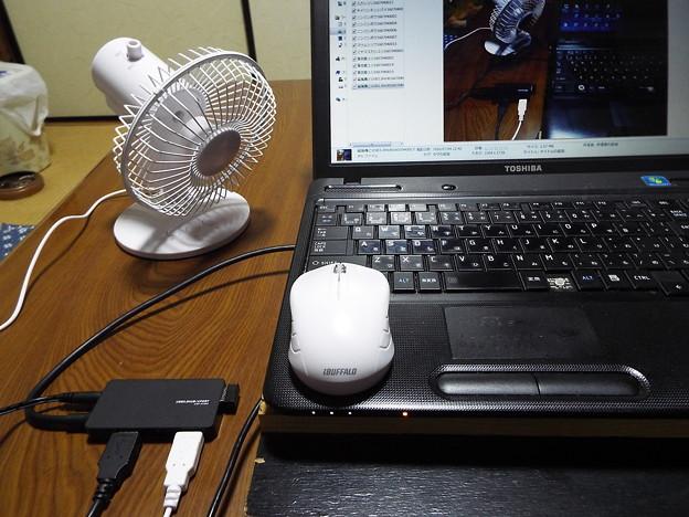 USB3.0HUB・無線マウス・扇風機