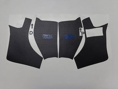 トヨタAQUA 傷防止シート キックパネル ロゴ有り ロゴカラーブルー