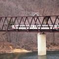 野岩鉄道湯西川橋梁を渡る東武6050系会津田島行き