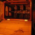 Photos: 久留米「つくね横丁」店内椅子の細工 中は荷物入れ