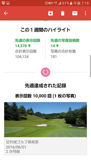 足利城ゴルフ倶楽部コース画像Googleマップ1週間で表示回数1万回突破のメール2016.8.23