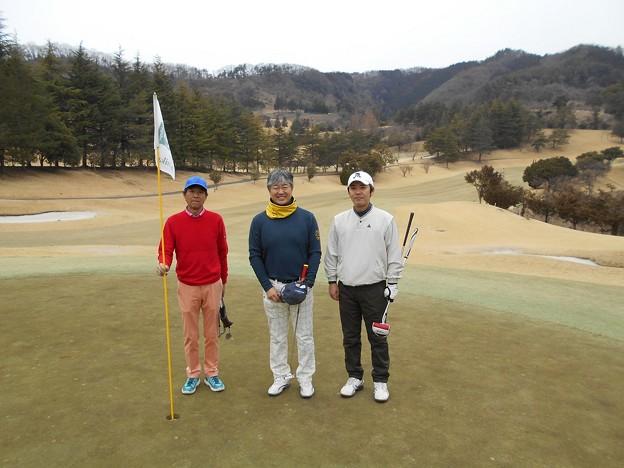 足利城ゴルフ倶楽部1番ホールの親さん・ポカリマン・藤さん