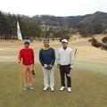 Photos: 足利城ゴルフ倶楽部1番ホールの親さん・ポカリマン・藤さん