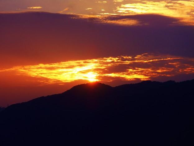 中秋の 竜王山の落日