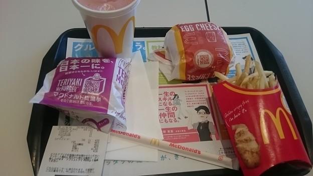 マックハンバーガー エグチ テリヤキ ポテトL 野菜生活M氷なし