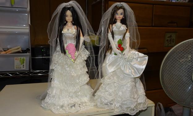 """シオンとREINAの女同士ウェディングドレス(REINAの""""レクラ リエール""""+シオンの""""ローズ リエール"""")"""