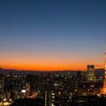 写真: 展望回廊から見た日没