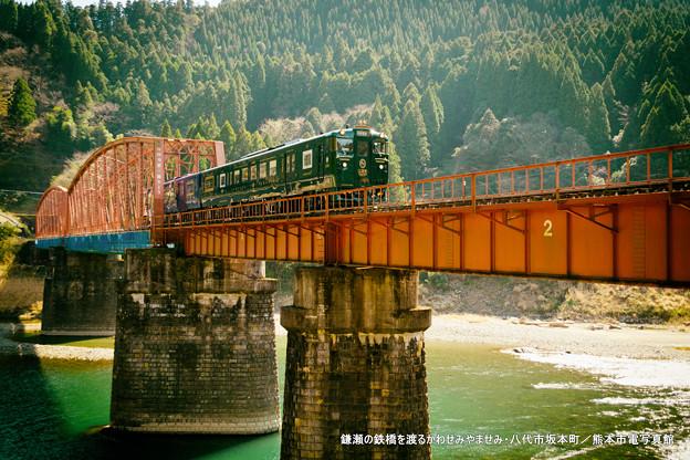 鎌瀬の鉄橋を渡るかわせみやませみ。