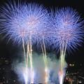 Photos: 北國花火金沢大会(1) 夜空にブルーの花が咲く
