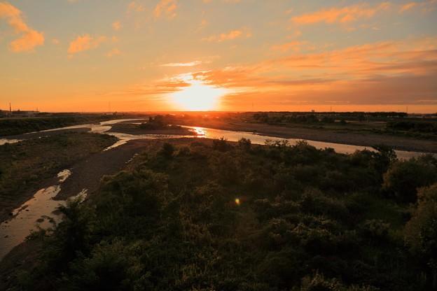 手取川と夕陽